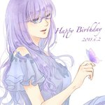 1girl alternate_costume bangs bare_shoulders birthday blue-framed_eyewear blue_dress blue_eyes blush breasts bug butterfly butterfly_on_finger commentary_request dated dress eyebrows_visible_through_hair frilled_sleeves frills gintama glasses insect kotoha_(user_anzh3572) long_hair open_mouth purple_hair sarutobi_ayame short_sleeves signature simple_background smile solo white_background