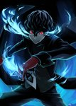 1boy amamiya_ren bangs black_clothes black_hair black_pants gelze gloves hair_between_eyes holding holding_mask male_focus mask pants persona persona_5 red_eyes red_gloves solo