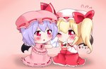 2girls :t bat_wings blonde_hair blue_hair blush brooch cake chibi commentary crumbs eating flandre_scarlet flying_sweatdrops food food_on_face fruit gradient gradient_background hat hat_ribbon holding holding_food jewelry looking_at_another mob_cap multiple_girls napkin one_eye_closed pink_background pink_headwear pink_shirt pink_skirt puffy_short_sleeves puffy_sleeves red_eyes red_skirt red_vest remilia_scarlet ribbon shirt short_hair short_sleeves siblings side_ponytail sisters skirt skirt_set slice_of_cake strawberry symbol_commentary touhou triangle_mouth vest wings wiping_face yairenko