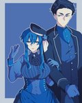 1boy 1girl 396_pkg black_hair blue blue_background blue_dress blue_eyes blue_gloves blue_hair breasts clenched_hand dress formal gloves hand_up hetero large_breasts locked_arms long_hair looking_at_another personification pokemon striped suit upper_body vertical_stripes wishiwashi