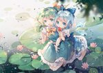 2girls ahoge blue_bow blue_dress blue_eyes blue_hair bow cirno commentary_request daiyousei detached_wings dress eating fairy_wings flower food food_theft frilled_skirt frills full_body green_eyes green_hair green_skirt green_vest hair_bow hair_ribbon holding holding_food ice ice_wings lily_pad looking_at_viewer lotus multiple_girls open_mouth outdoors ponytail popsicle puffy_short_sleeves puffy_sleeves rain ribbon rokusai short_hair short_sleeves skirt touhou vest water water_drop watermelon_bar wings yellow_neckwear yellow_ribbon