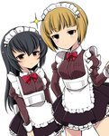 :| alternate_costume apron bangs black_hair black_skirt blonde_hair blunt_bangs bow bowtie brown_eyes closed_mouth collared_shirt commentary cowboy_shot cutlass_(girls_und_panzer) dutch_angle enmaided expressionless eyebrows_visible_through_hair frilled_apron frills frown girls_und_panzer hairband half-closed_eyes highres juliet_sleeves long_hair long_sleeves looking_at_viewer maid maid_apron maid_headdress miniskirt petticoat pleated_skirt puffy_sleeves red_neckwear reizei_mako ruruepa shirt short_hair simple_background skirt sparkle standing striped striped_shirt sweatdrop vertical-striped_shirt vertical_stripes white_apron white_background white_hairband yellow_eyes