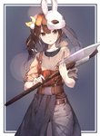 1girl :o axe bangs bell belt black_shirt blonde_hair bow brown_eyes brown_hair bunny_mask cowboy_shot crack dead_by_daylight grey_shirt hair_bow highres holding holding_axe jingle_bell long_hair looking_at_viewer mask mask_on_head multicolored_hair original pants parted_lips se.a shirt side_ponytail simple_background sleeves_folded_up solo streaked_hair suspenders undershirt veil waist_cape white_pants yellow_bow