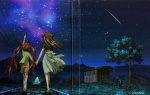 2girls air aratani_tomoe highres michiru_(air) multiple_girls night scan sky star_(sky) starry_sky toono_minagi