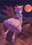 1girl blue_hair dress flying full_moon glowing glowing_eyes hat moon naka_akira night night_sky red_eyes red_moon remilia_scarlet shoes short_hair sky solo star_(sky) starry_sky touhou wings wrist_cuffs