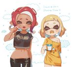 2girls ass_visible_through_thighs closed_eyes clothes_writing coffee_mug commentary cup dark_skin fangs groin inkling light_blush midriff mug multiple_girls navel octoling off_shoulder open_mouth orange_hair oversized_clothes pink_hair pointy_ears shirt splatoon splatoon_2 splatoon_2:_octo_expansion stomach teeth tentacle_hair thigh_gap toothbrush yawning yu-ri