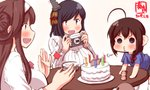 3girls ahoge alternate_costume artist_logo birthday birthday_cake black_hair blowing blush bow braid brown_hair cake camera candle clapping commentary_request dated double_bun food hair_bow hair_ornament hairband highres holding holding_camera kanon_(kurogane_knights) kantai_collection kongou_(kantai_collection) long_hair long_sleeves multiple_girls open_mouth plate red_bow red_eyes ribbed_sweater shigure_(kantai_collection) short_sleeves signature single_braid smile sweater table white_sweater yamashiro_(kantai_collection) younger