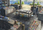 candy cash_register griddle k_kanehira no_humans original pen ruler scenery stool storefront