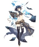 1girl alice_(sinoalice) beltskirt black_hair book boots breasts brown_eyes full_body hair_ribbon jino looking_at_viewer navel official_art pages revealing_clothes ribbon short_hair sinoalice solo tattoo thigh_boots thighhighs torn_clothes torn_thighhighs transparent_background underboob