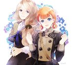 2girls annette_fantine_dominique artist_name blonde_hair blue_eyes bow closed_mouth fire_emblem fire_emblem:_three_houses hair_bow long_sleeves low_ponytail mercedes_von_marltritz multiple_girls okii open_mouth orange_hair simple_background smile twintails uniform upper_body white_background