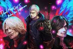 3boys black_coat black_hair blue_coat blue_eyes closed_mouth coat dante_(devil_may_cry) devil_may_cry devil_may_cry_5 english_text facial_hair glowing grey_eyes hair_over_one_eye jewelry male_focus medium_hair multiple_boys necklace nero_(devil_may_cry) official_art red_coat red_shirt shirt signature sleeves_rolled_up smile standing sword tattoo tsuyomaru v_(devil_may_cry) weapon weapon_on_back white_hair zipper