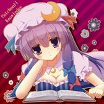 15_(tooka) 1girl book bow breasts character_name cleavage commentary_request crescent_hair_ornament elbow_rest hair_bow hair_ornament hat hat_bow lying on_stomach patchouli_knowledge purple_eyes purple_hair solo touhou