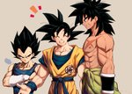 +++ 3boys =3 ^_^ abs arm_at_side arm_scar beige_background black_eyes black_hair broly_(dragon_ball_super) chest_scar closed_eyes clothes_around_waist clothes_writing crossed_arms dougi dragon_ball dragon_ball_super_broly facial_scar frown gloves highres light_smile looking_at_another looking_down male_focus mattari_illust multiple_boys nipples open_mouth outstretched_arms profile purple_legwear scar scar_on_cheek serious shirtless sigh simple_background smile son_gokuu spiked_hair standing teeth twitter_username upper_body upper_teeth vegeta waist_cape white_gloves wristband