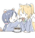 2girls :3 :t aburaage animal_ears arm_support ayase_eli blazer blonde_hair blue_jacket blue_scrunchie blush_stickers chibi chopsticks doma_(domani) eating eye_contact food food_in_mouth fox_ears fox_tail from_side green_neckwear green_ribbon hair_ornament hair_scrunchie hand_up holding holding_chopsticks jacket kemonomimi_mode kitsune_udon long_hair long_sleeves looking_at_another love_live! love_live!_school_idol_project low_twintails multiple_girls neck_ribbon otonokizaka_school_uniform pink_scrunchie ponytail purple_hair raccoon_ears raccoon_tail ribbon school_uniform scrunchie simple_background tail toujou_nozomi twintails udon upper_body white_background |_|