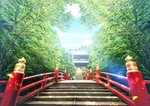 absurdres architecture blue_sky bridge cloud commentary_request day east_asian_architecture falling_leaves grass highres huge_filesize lamppost leaf lens_flare mahiro_(mahiroht) nature no_humans original outdoors railing rock scenery shrine sky stairs sunlight tree
