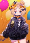 1girl abigail_williams_(fate/grand_order) absurdres balloon bandaid_on_forehead bangs belt black_bow black_jacket blonde_hair blue_eyes blush bow commentary_request crossed_bandaids crossover cthulhu_(poptepipic) cursive fate/grand_order fate_(series) forehead gradient gradient_background hair_bun heroic_spirit_traveling_outfit high_collar highres jacket kawachi_rin long_hair looking_at_viewer multiple_hair_bows orange_background orange_bow parted_bangs poptepipic romaji_text sleeves_past_wrists solo sparkle thighs