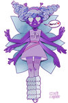 1girl :d alternate_form antennae butterfly_wings dated dress drill_hair extra_arms facial_mark hairband heart heart_cheeks heart_eyes kokoro_(worinigemu1996) leg_warmers looking_at_viewer multiple_wings open_mouth pantyhose purple_dress purple_eyes purple_hair sleeveless sleeveless_dress smile solo spoken_heart star_butterfly star_vs_the_forces_of_evil striped striped_legwear twin_drills wings