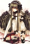 1girl bow box breasts brown_eyes brown_hair carnelian cleavage copyright_request gift gothic gothic_lolita highres lolita_fashion mary_janes medium_breasts pantyhose ribbon shoes single_shoe solo white_legwear