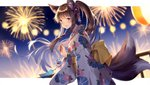 1girl :d aerial_fireworks animal_ears bangs blurry blurry_background blush brown_hair check_character commentary depth_of_field eyebrows_visible_through_hair fingernails fireworks floral_print fox_ears fox_girl fox_tail from_side hair_between_eyes highres holding itsia japanese_clothes kimono kitsune long_hair long_sleeves looking_at_viewer looking_to_the_side multiple_tails night night_sky obi open_mouth ponytail print_kimono purple_eyes railing sash sky smile solo suzune_(teria_saga) tail teria_saga two_tails white_kimono wide_sleeves wind_chime
