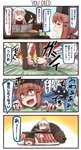 /\/\/\ 3girls 4koma =3 =_= ahoge alternate_costume animal arms basket bear black_gloves black_hat blue_background blue_shawl blush blush_stickers brown_eyes brown_hair brown_legwear closed_eyes comic commentary_request constricted_pupils emphasis_lines english evil_smile eyebrows_visible_through_hair facial_scar fingerless_gloves fingernails food fruit gangut_(kantai_collection) gloves grabbing gradient gradient_background hair_between_eyes hair_flaps hair_ornament hairclip hat hibiki_(kantai_collection) highres holding holding_newspaper holding_paper holding_pipe horosho ido_(teketeke) jacket kantai_collection kotatsu leg_grab legs legs_grab long_hair long_sleeves looking_at_another looking_at_viewer low_twintails lying mandarin_orange motion_lines multicolored multicolored_background multiple_girls newspaper no_gloves no_hat no_headwear no_nose o_o on_stomach open_mouth orange_background pantyhose papakha paper pipe red_sweater ribbed_sweater ribbon_trim sailor_collar sailor_shirt scar shaded_face shawl shirt sitting smile smoke speech_bubble speed_lines standing star star_hair_ornament sweater table tashkent_(kantai_collection) tears teeth tissue tissue_box translated turtleneck turtleneck_sweater twintails v-shaped_eyebrows verniy_(kantai_collection) white_background white_hair white_jacket white_shirt wide-eyed wojtek_(ido) yellow_background  _ 