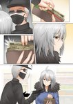 1boy 1girl ahoge baseball_cap black_gloves black_shirt breasts comic commentary_request convenience_store expressionless eyebrows_visible_through_hair fate/grand_order fate_(series) frown fur_collar ginhaha gloves gun handgun hat highres jacket jeanne_d'arc_(alter)_(fate) jeanne_d'arc_(fate)_(all) large_breasts mask money robbery shirt shop short_hair silver_hair sunglasses surprised sweatdrop wallet weapon yellow_eyes