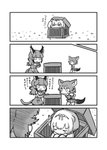 3girls animal_ears anteater_ears black-backed_jackal_(kemono_friends) black_hair blonde_hair bow bowtie caracal_(kemono_friends) caracal_ears caracal_tail comic elbow_gloves eyebrows_visible_through_hair fang gloves greyscale hair_bow high-waist_skirt highres in_container jackal_ears jackal_tail kemono_friends kotobuki_(tiny_life) light_brown_hair long_hair long_sleeves monochrome multicolored_hair multiple_girls pleated_skirt short_hair sidelocks silky_anteater_(kemono_friends) skirt sleeping sleeveless translation_request vest white_hair zzz