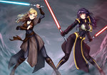 2girls adsouto blonde_hair boobplate borrowed_character breastplate breasts commentary commission covered_navel dual_wielding energy_sword green_eyes highres holding impossible_clothes impossible_shirt jedi large_breasts lightsaber long_hair multiple_girls original pelvic_curtain pointy_ears ponytail purple_hair shirt sith star_wars sword tagme weapon