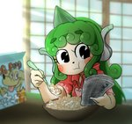 1girl black_eyes bowl chamaji commentary_request curly_hair dog_food eating english_text green_hair holding_newspaper horn komano_aun newspaper reading red_shirt shirt solo spoon touhou