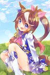1girl animal_ears blue_eyes blue_sky brown_hair ech eyebrows_visible_through_hair gloves hair_ribbon horse_ears horse_tail long_hair looking_at_viewer multicolored_hair open_mouth outdoors ponytail ribbon school_uniform sitting sky solo tail tokai_teio two-tone_hair umamusume white_gloves