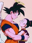 1boy 1girl :d angel_wings bare_arms bare_shoulders beige_background black_eyes black_hair chi-chi_(dragon_ball) china_dress chinese_clothes couple crying crying_with_eyes_open dougi dragon_ball dragon_ball_z dress earrings eye_contact eyelashes fingernails hair_bun halo hands_on_another's_back happy_tears hetero hug jewelry looking_at_another looking_up open_mouth outsuki pink_background profile simple_background sleeveless sleeveless_dress smile son_gokuu spiked_hair standing tears tied_hair twitter_username upper_body wings wristband