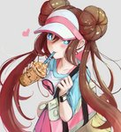 1girl artist_name bag blue_eyes blush breasts brown_hair collarbone commentary double_bun drinking_straw grey_background heart holding ippers long_hair medium_breasts mei_(pokemon) pantyhose pokemon pokemon_(creature) pokemon_(game) pokemon_bw2 simple_background smile twintails two-tone_background vanillite visor_cap white_background