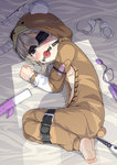 1girl anal_beads animal_costume ball_gag bandages bdsm bed blindfold blush bound bound_thighs bound_wrists brown_eyes cuffs dildo gag gagged girls_und_panzer handcuffs highres imminent_rape leafy_(kitsuneya) looking_at_viewer lying medicine needle on_side one_eye_covered open_pajamas opening_door pajamas restrained shadow shimada_arisu solo tears vibrator