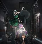 2girls absurdres animal_ears arm_up assault_rifle bangs battle_rifle black_footwear black_legwear black_neckwear blue_eyes blunt_bangs breasts brown_footwear bunny_ears chinese_commentary commentary_request covering_mouth diffraction_spikes dress_shirt flashlight full_body gangsta_hold glint green_skirt green_vest gun h&k_g3 hair_ribbon handgun heckler_&_koch highres indoors katana kneehighs kneeling konpaku_youmu konpaku_youmu_(ghost) lavender_hair lens_flare loafers lolipantherwww long_hair looking_to_the_side machine_gun mary_janes medium_breasts multiple_girls necktie one_eye_closed one_knee panties pantyshot pantyshot_(kneeling) pipes pleated_skirt puffy_short_sleeves puffy_sleeves red_eyes red_neckwear red_skirt reflection reisen_udongein_inaba ribbon rifle scabbard sheath shirt shoes short_hair short_sleeves silver_hair skirt sparks standing standing_on_one_leg striped striped_panties sword thighhighs touhou tunnel underwear unsheathing very_long_hair vest water water_drop weapon white_legwear white_shirt zettai_ryouiki
