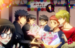 2girls 5boys ahoge anger_vein avalon_(fate/stay_night) black_eyes black_hair blonde_hair blue_eyes blurry bouquet carnival_phantasm depth_of_field emiya_kiritsugu emiya_shirou fate/prototype fate/stay_night fate/zero fate_(series) father_and_son flower glasses green_eyes kara_no_kyoukai kokutou_mikiya long_hair multiple_boys multiple_girls raglan_sleeves red_hair saber saber_(fate/prototype) sajou_ayaka setta_(tokinon) short_hair sweat toono_shiki tsukihime type-moon yellow_eyes