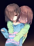 androgynous arm_at_side bangs blue_background blue_shirt blush_stickers brown_hair chara_(undertale) closed_mouth collarbone commentary_request emia_(castilla) frisk_(undertale) gradient gradient_background green_shirt hair_between_eyes hair_over_one_eye half-closed_eyes hand_up head_tilt highres hug hug_from_behind long_sleeves looking_at_another looking_down red_eyes shiny shiny_hair shirt short_hair sleeves_past_wrists smile striped striped_shirt undertale |_|