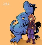 1boy brown_hair feraligatr gen_2_pokemon holding holding_poke_ball jonathan_kim male_focus poke_ball poke_ball_(generic) pokemon pokemon_(creature) pokemon_(game) pokemon_gsc silver_(pokemon) simple_background