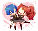 2girls bad_id blue_eyes blue_hair blush brown_hair character_name chibi earrings heart jewelry kneehighs kujikawa_rise multiple_girls nemui_8 one_eye_closed open_mouth persona persona_4 pleated_skirt red_eyes school_uniform shirogane_naoto short_hair skirt smile thighhighs twintails v zettai_ryouiki