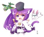 1girl :d aircraft airplane animal animal_ear_fluff animal_ears azur_lane bangs bell bishamaru_(azur_lane) black_headwear blush_stickers bow bunny cat_ears cat_girl cat_tail chibi closed_fan commentary_request eyebrows_visible_through_hair fan folding_fan full_body hair_bow hakama_pants hat holding holding_fan japanese_clothes jingle_bell kanda_(kvzs4332) long_hair long_sleeves meowficer_(azur_lane) open_mouth pants puffy_pants purple_eyes purple_hair purple_pants ribbon-trimmed_sleeves ribbon_trim simple_background smile solo standing tail tail_raised very_long_hair white_background white_bow wide_sleeves