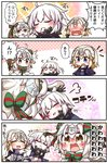 /\/\/\ 3girls 4koma :d absurdres bangs bell black_gloves blonde_hair blue_jacket blush bow brown_eyes capelet cellphone chain closed_eyes comic commentary_request dress elbow_gloves eyebrows_visible_through_hair faceless faceless_female fate/apocrypha fate/grand_order fate_(series) fur-trimmed_capelet fur-trimmed_jacket fur_trim gloves green_bow green_ribbon hair_between_eyes hair_bow headpiece highres holding holding_cellphone holding_phone jacket jako_(jakoo21) jeanne_d'arc_(alter)_(fate) jeanne_d'arc_(fate) jeanne_d'arc_(fate)_(all) jeanne_d'arc_alter_santa_lily lap_pillow long_hair looking_to_the_side multiple_girls nose_blush open_mouth phone pleated_dress purple_dress ribbon smile sparkle_background striped striped_bow striped_ribbon sweat taking_picture translation_request v-shaped_eyebrows white_capelet white_dress white_hair wicked_dragon_witch_ver._shinjuku_1999 younger