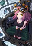 1girl allen_wrench angle bad_perspective bangs black_gloves boku_no_hero_academia breasts cable chair cleavage crosshair_eyes crosshair_pupils drill eyebrows_visible_through_hair fingerless_gloves from_above gloves goggles goggles_on_head grin hatsume_mei headgear highres indian_style indoors large_breasts looking_at_viewer medium_breasts monitor mouse_(computer) nail nut_(hardware) office_chair paper pink_hair pliers ruler screw scroll shinako sitting smile solo tank_top tools yellow_eyes