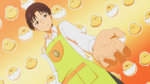 1boy apron bird chick glasses official_art smile solo takanashi_souta working!!