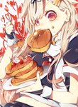 1girl black_ribbon black_serafuku blonde_hair blush commentary_request eating fingerless_gloves food food_on_face fork fruit gloves hair_flaps hair_ornament hair_ribbon hairclip heart heart-shaped_pupils highres holding holding_fork kantai_collection long_hair looking_at_viewer neckerchief pancake plate red_eyes red_neckwear remodel_(kantai_collection) ribbon scarf school_uniform serafuku short_sleeves solo strawberry sumoffu symbol-shaped_pupils syrup whipped_cream yuudachi_(kantai_collection)