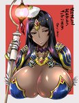 1girl black_hair blush bracelet breasts circlet cleavage dark_skin fate/grand_order fate_(series) forehead_jewel green_eyes hat huge_breasts jewelry lantern lips long_hair looking_away musashino_sekai parted_lips ring scheherazade_(fate/grand_order) shiny shiny_skin solo staff translation_request upper_body