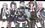 5girls absurdres ar-15 assault_rifle bangs beret black_hair black_jacket black_legwear black_neckwear black_skirt blazer blunt_bangs bolt_action breast_pocket breasts bullpup cheytac_m200 collared_shirt cowboy_shot eyebrows_visible_through_hair facial_mark girls_frontline gloves green_eyes grey_eyes gun h&k_hk416 hair_between_eyes hair_ornament hair_ribbon half_updo hat highres hk416_(girls_frontline) holding holding_gun holding_weapon jacket jill_stingray long_hair long_sleeves looking_at_viewer m200_(girls_frontline) medium_breasts military_jacket multicolored_hair multiple_girls necktie one_side_up pantyhose pink_hair plaid plaid_skirt pleated_skirt pocket purple_eyes purple_hair red_eyes red_neckwear red_ribbon ribbon rifle rynn_(user_rkgs8583) shirt side_ponytail silver_hair simple_background single_thighhigh skirt sniper_rifle st_ar-15_(girls_frontline) streaked_hair teardrop thighhighs twintails va-11_hall-a wa2000_(girls_frontline) walther walther_wa_2000 weapon white_background white_gloves white_shirt