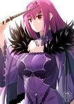 1girl absurdres bangs breasts cleavage commentary_request dress expressionless eyebrows_visible_through_hair fate/grand_order fate_(series) feather_trim fur_trim hair_between_eyes headpiece highres holding holding_wand jewelry large_breasts long_hair looking_at_viewer medb_(fate)_(all) medb_(fate/grand_order) pendant purple_dress purple_hair purple_ribbon red_eyes ribbon scathach_(fate)_(all) scathach_skadi_(fate/grand_order) shiime simple_background solo tiara wand white_background wide_sleeves