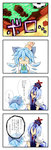 2girls 4koma :< absurdres blue_hair cirno comic head_bump highres kamishirasawa_keine multiple_girls potato_pot ribbon touhou translated
