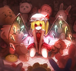 1girl bai_yemeng blonde_hair dress flandre_scarlet hat hat_removed headwear_removed highres mob_cap monkey panda red_dress red_eyes sash side_ponytail sitting slit_pupils smile solo stuffed_animal stuffed_bunny stuffed_panda stuffed_toy teddy_bear touhou v_arms wariza wings