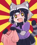+_+ 1girl :d >:) animal_ear_fluff animal_ears bangs blue_hair blue_skirt blush bodystocking bow bowtie breast_pocket brown_eyes commentary_request common_raccoon_(kemono_friends) flag fur_collar grey_hair highres holding holding_sweater ino_(tellu0120) kemono_friends multicolored_hair no_gloves open_mouth pantyhose pink_sweater pocket puffy_short_sleeves puffy_sleeves purple_sweater raccoon_ears raccoon_tail short_hair short_sleeve_sweater short_sleeves skirt smile solo sunburst sunburst_background sweater tail