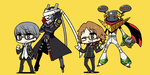 2boys brown_eyes brown_hair chan_co chibi glasses grey_eyes grey_hair hanamura_yousuke hand_in_pocket headphones headphones_around_neck izanagi jiraiya_(persona_4) male_focus multiple_boys narukami_yuu one_eye_closed persona persona_4 school_uniform short_hair shrug smile standing