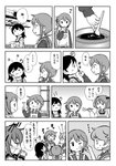 +++ 5girls akebono_(kantai_collection) apron bell chocolate comic commentary_request flower flower_(symbol) greyscale hair_bell hair_flower hair_ornament hand_on_own_face highres ikazuchi_(kantai_collection) jingle_bell kantai_collection kappougi lineart long_hair monochrome multiple_girls oboro_(kantai_collection) otoufu sailor_collar sazanami_(kantai_collection) school_uniform serafuku shelf short_ponytail side_ponytail spoon sweater tasting thumbs_up translated twintails upper_body ushio_(kantai_collection) window